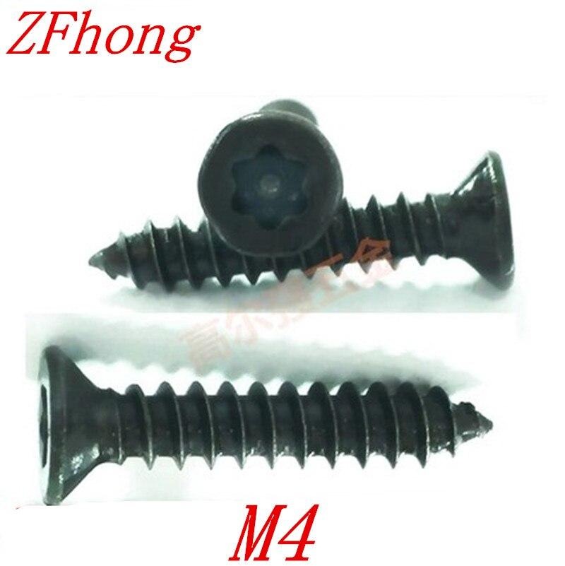 100pcs/lot ST3.9*9/13/16/19/25 M4 Six-Lobe black Torx Flat countersunk head self tapping screw100pcs/lot ST3.9*9/13/16/19/25 M4 Six-Lobe black Torx Flat countersunk head self tapping screw