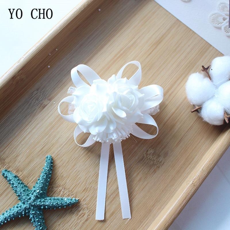Wedding flower rose white Wrist Corsage Bracelet Boutonniere (15)