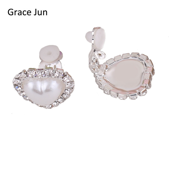 Grace Jun2017 New Design Doule Heart Shape Rhinestone Clip On Earrings For Women Party Elegant Fashion