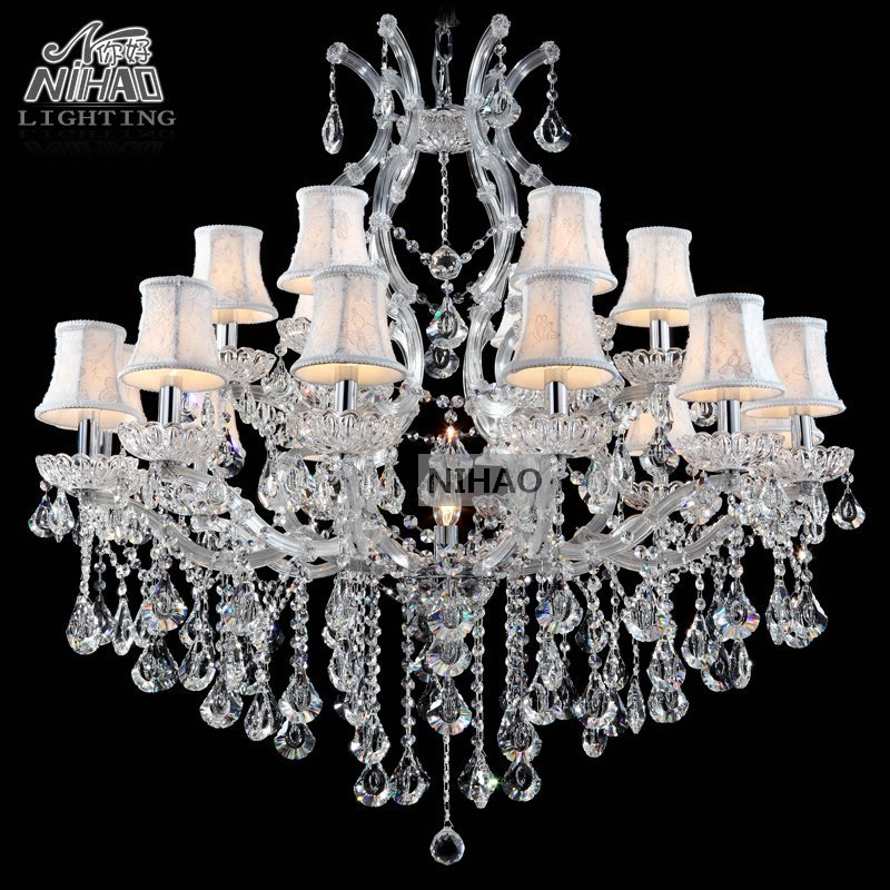Chandelier Light 18 Arms Clear Crystal Pendant Lamp Crystal Chandeliers Lustre for Foyer Maria Theresa Light Fixture with shade