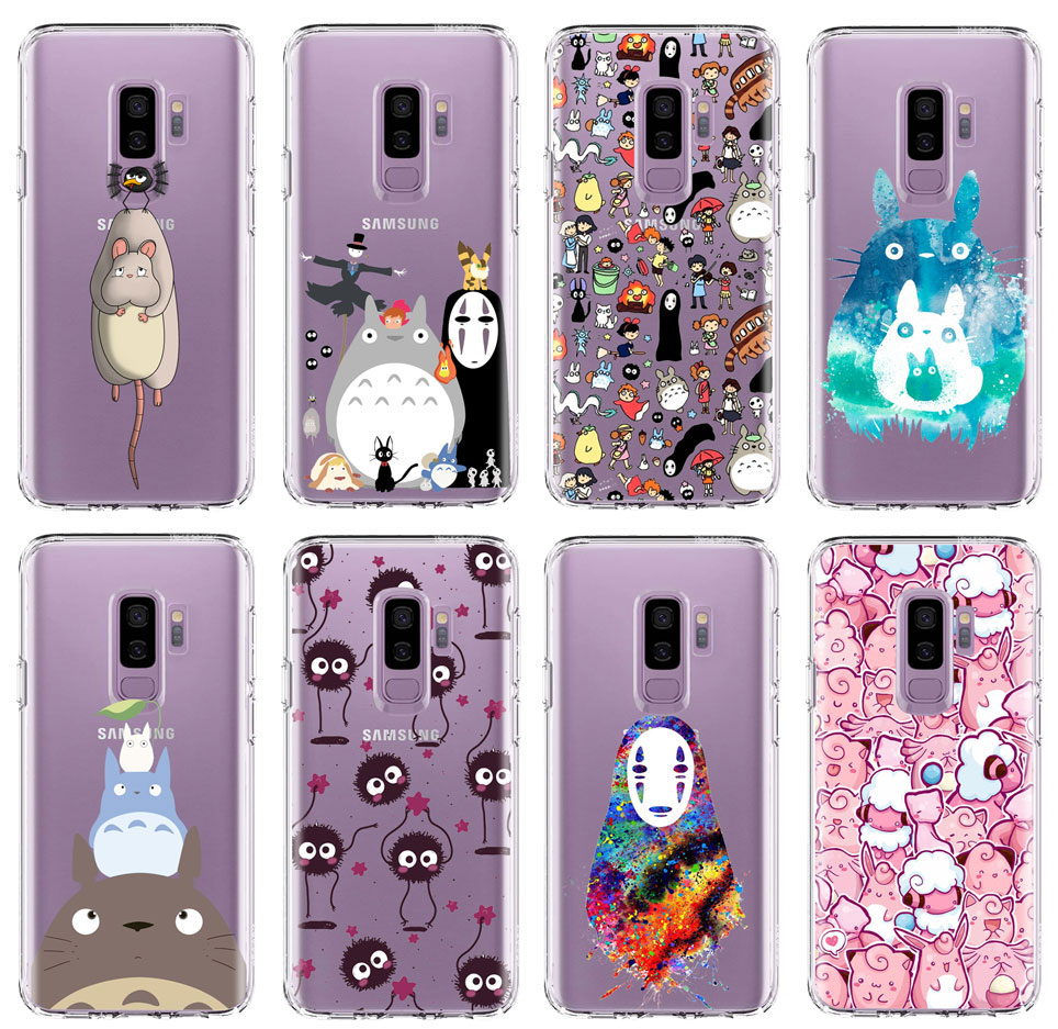 Spirited Away Ghibli <font><b>Anime</b></font> Kaonashi Cute Totoro <font><b>Phone</b></font> <font><b>case</b></font> for <font><b>Samsung</b></font> S10 <font><b>S9</b></font> S8 <font><b>Plus</b></font> s7 s6 edge a6 a5 2017 TPU Silicone Cover image
