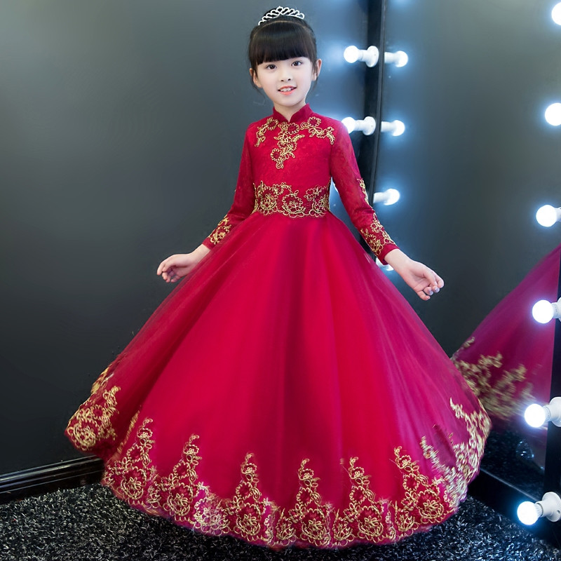 New Chinese Traditional Style Children Girls Embroidery Lace Long Sleeves Dress Kids Birthday Wedding Evening New Year Dress vintage chinese style slim long dress 2016 summer new fashion embroidery ankle length dress for women