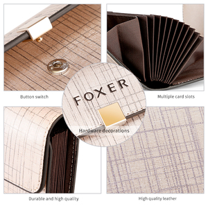 Image 4 - FOXER Brand Womens ID Case Mini Wallet Business Card Holder Female Purse Coin Packet Lady Mini Large Capacity Card Slot