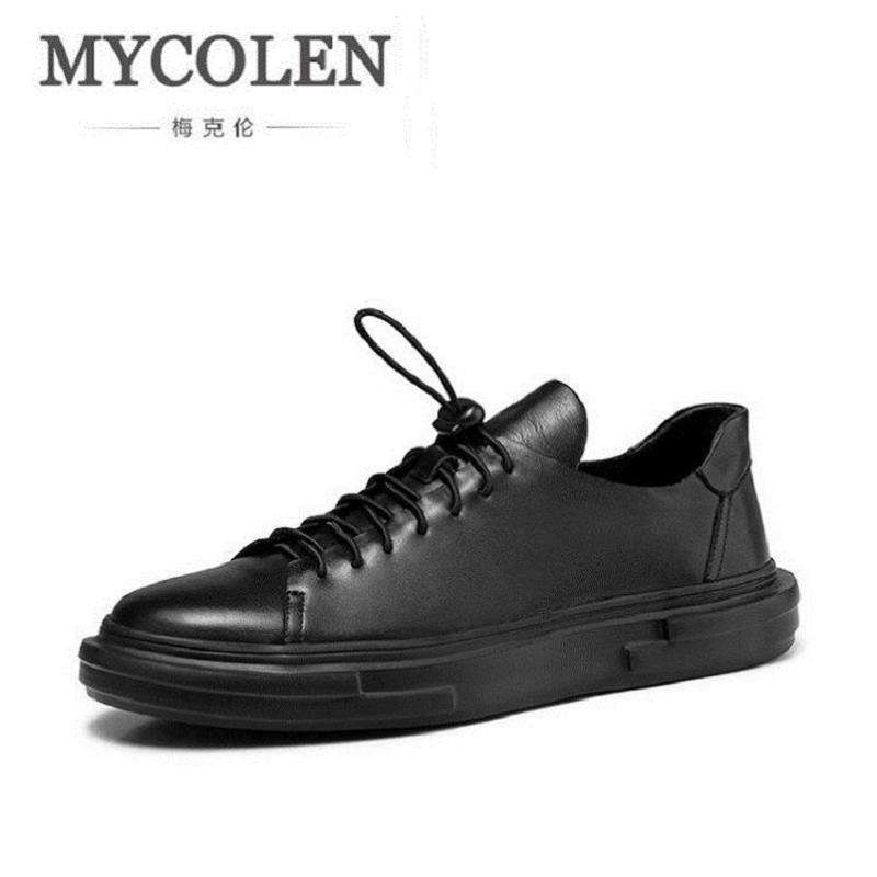 MYCOLEN Men Casual Shoes Handmade Breathable Men Flats Top Quality Brand Men Shoes Black Leather Zapatillas Hombre Deportiva gram epos men casual shoes top quality men high top shoes fashion breathable hip hop shoes men red black white chaussure hommre