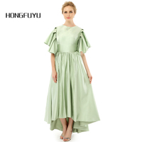Real Photo Fashion Hi Lo A Line Scoop Neck Cap Sleeves Zipper Ankle Length Mother Of The Bride Dresses 2018 Party Gowns DNS 161