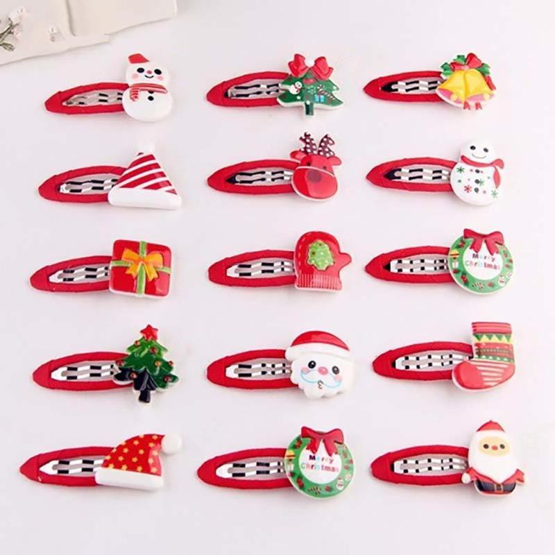 Hot Style Christmas Hair Clips For Children Girl Hair Boutique Christmas Bow Gift Hair Accessories Hairpins Barrettes C2 new children crystal barrettes crown bow hairgrip safety hair clip headband for princess gift kid hairpins girl hair accessories
