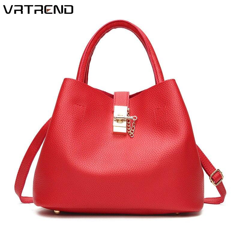 Top Donne Vrtrend pink Spalla Alta Della Signore Mano Casual Capacità red Di Del Sacchetto Bag Shopping Borsa Modo Delle 2018 Cuoio Messaggero Black 0Fwqr0z
