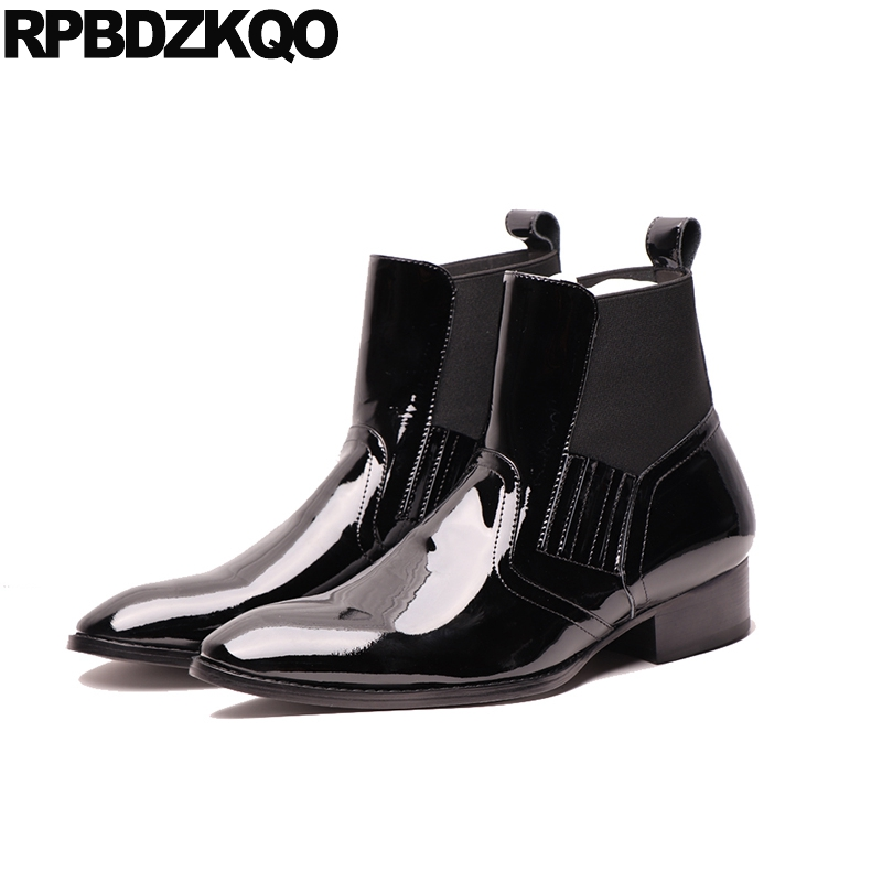 wedding plus size mens black patent leather boots dress chelsea fall pointed toe slip on chunky full grain ankle shoes europeanwedding plus size mens black patent leather boots dress chelsea fall pointed toe slip on chunky full grain ankle shoes european