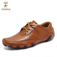 VESONAL Hot Sale 2017 Autumn Winter Fur Men Shoes Casual Male Adult Genuine Leather Brand Walking