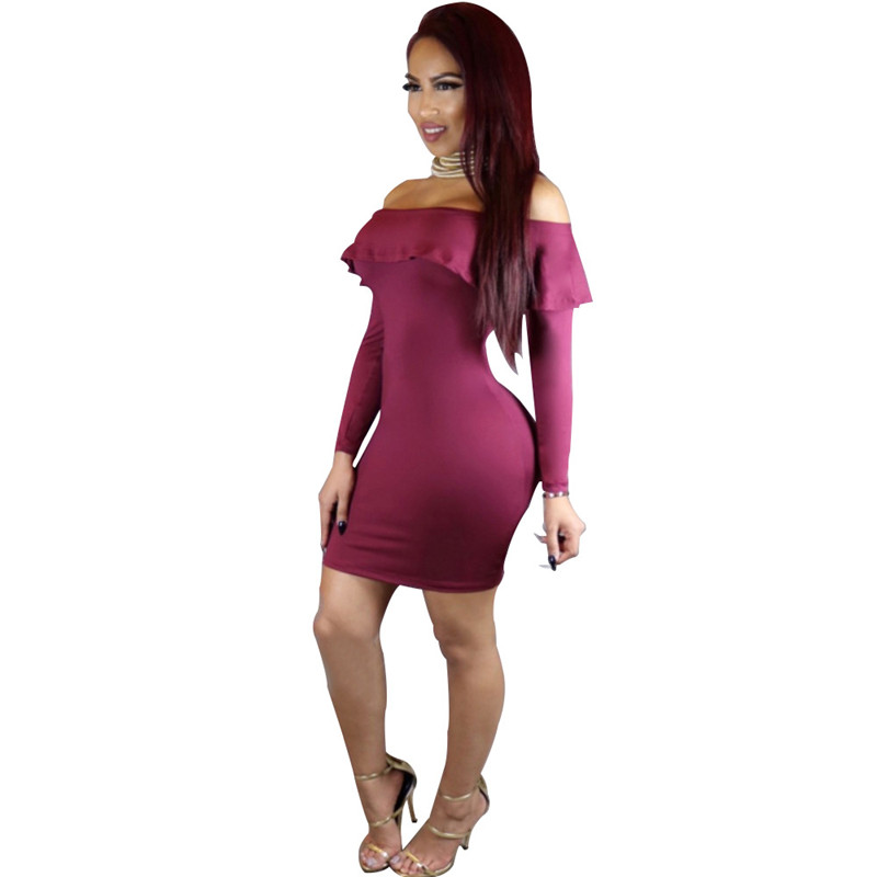 2016 Plus Size Women Autumn Sexy Dress Club Wear Ruffles Dress Off Shoulder Long Sleeve Slash Neck Bodycon Short Party Dresses-In Dresses From -8297