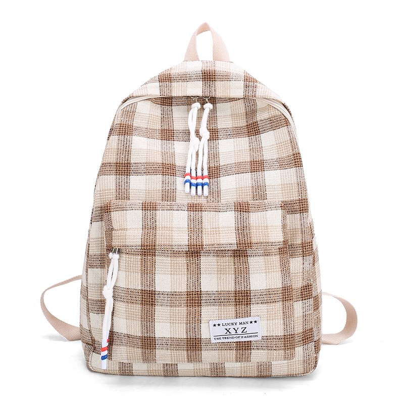 RAINED-Canvas School Backpack Casual Laptop Bag Lightweight Plaid Travel Backpack for girls Womens Bookbag Daypack