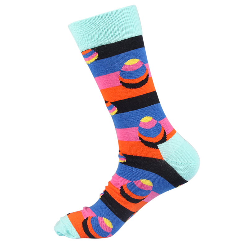 JULYS SONG Happy Socks Men Funny Socks EU Size 8-12 US Size 40-46 Cotton Crew Socks