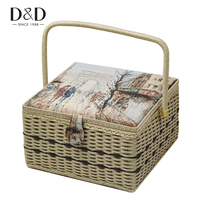 Handmade Wood&Fabric Crafts Sewing Storage Basket with Sewing Accessories Tools Box DIY Home Decorations Mother's Day Gift