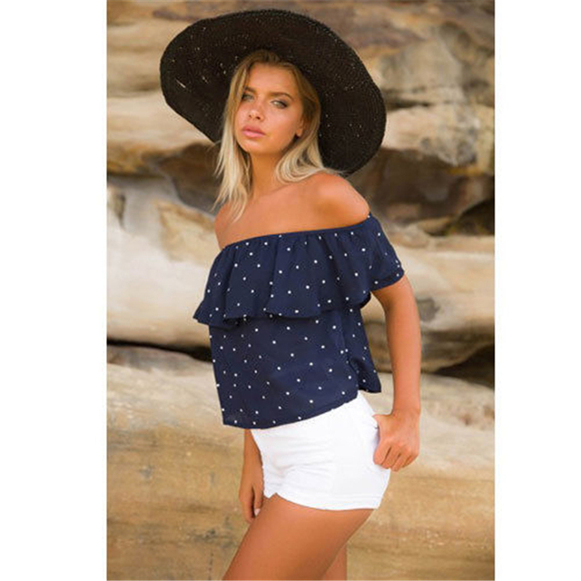 137caa4662ec15 Fashion Women Off Shoulder Polka Dot Ruffle Blouse tops Summer White Navy  Blue Sleeveless Shirt Casual Blouse Loose Top