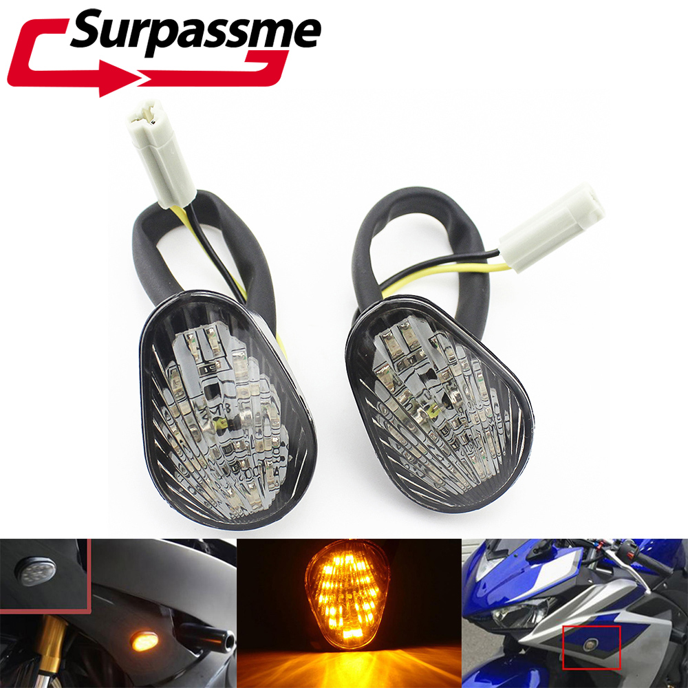 For <font><b>Yamaha</b></font> YZF <font><b>R1</b></font> 2002 - 2004 2008 YZF R6 2003 - 2007 2008 Motorcycle Turn Signals <font><b>LED</b></font> Flush Mount <font><b>Light</b></font> Amber Indicator Lamp image