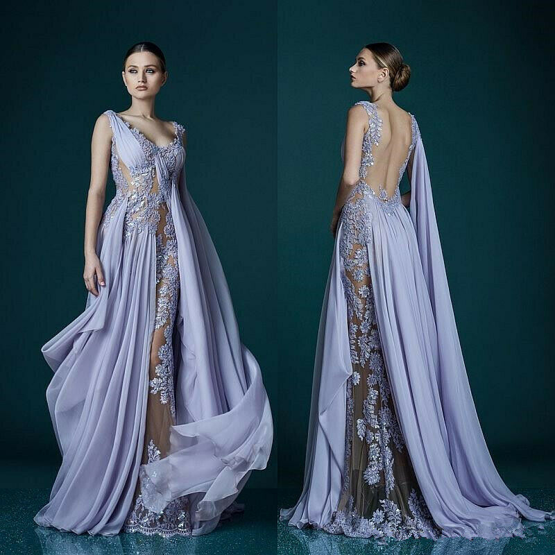 Deep V-neck Lavender Evening Dresses With Wrap Appliques Sheer Backless Prom
