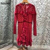 High Quality Runway Dress 2019 Summer Sexy Party Ladies V Neck Polka Dot Print Ruffle Patchwork Long Sleeve Red Black Dress Mini