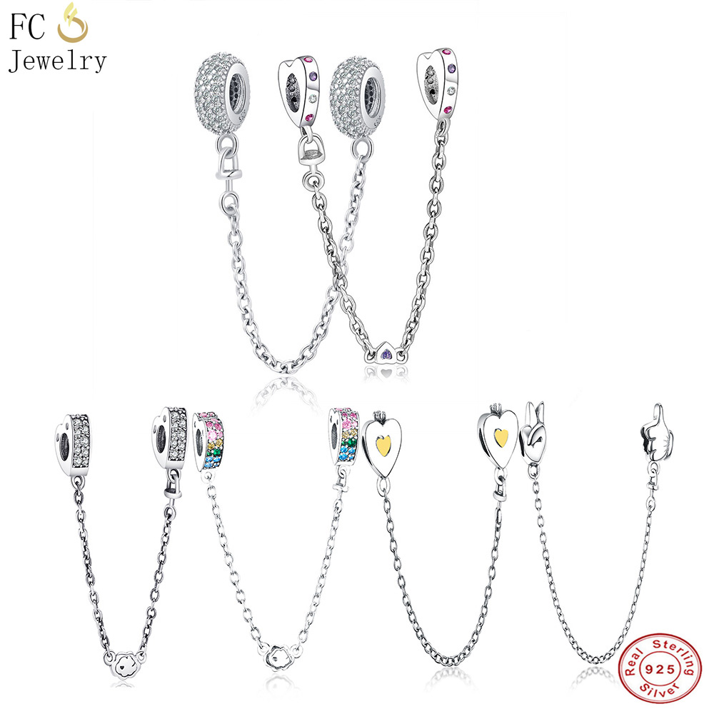 FC Jewelry Fit Original Pandora Charm Bracelet 925 Sterling Silver Heart Crystal Safety Chain&Clip Beads DIY For Making Berloque