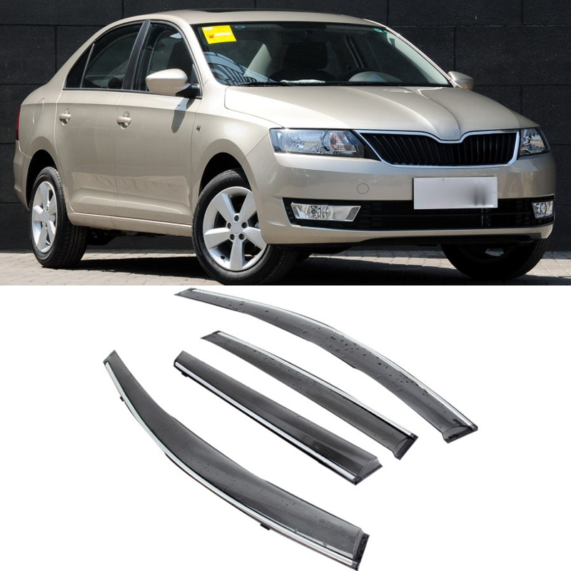 For Skoda Rapid 2013-2017 2016 Car Window Visor Door Rain Sun Shield Side Windows Cover Trim Auto Accessories 4pcs/set jinke 4pcs blade side windows deflectors door sun visor shield for hyundai tucson 2013
