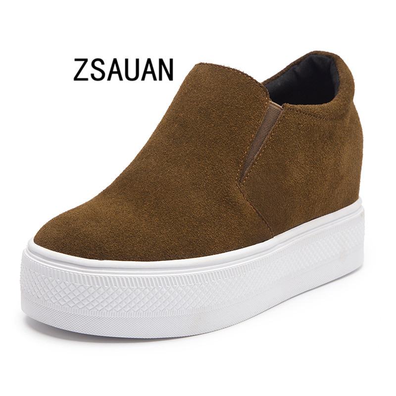 2019 Newly Leather Increased Casual Shoes Women s Designer Slip on Driving Loafers Comfortable Antiskid Sneakers