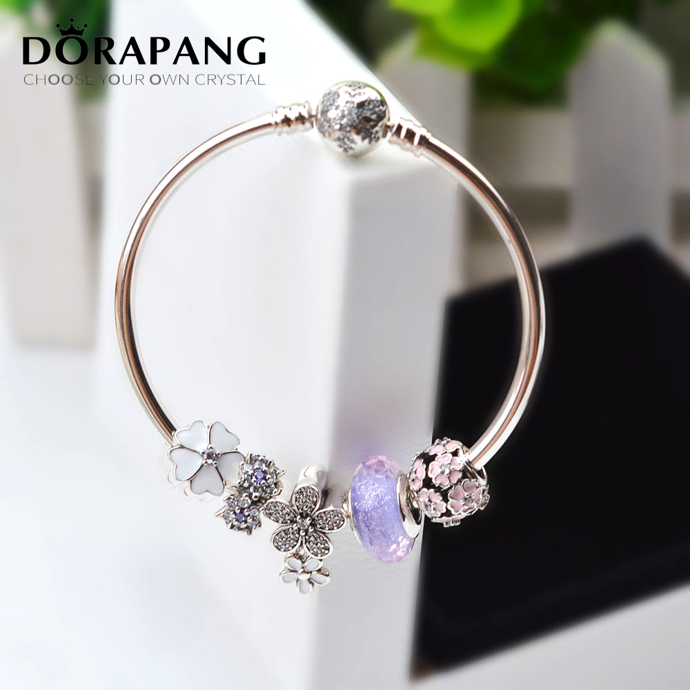 DORAPANG NEW 100% 925 Sterling Silver Bracelet Set For Europe Women Spring Purple Flowers DIY Gift Original Bangle Charm Jewelry dorapang 100