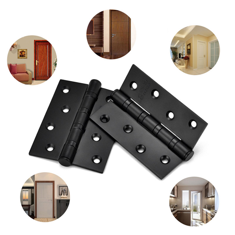 1 Pair 4 Inch Door Hinges Stainless Steel Wood Doors Cabinet Drawer Box Interior Hinge Furniture Hardware Accessories CLH 2pcs set stainless steel 90 degree self closing cabinet closet door hinges home roomfurniture hardware accessories supply