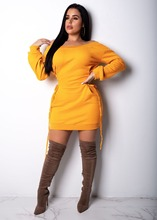 Solid Color Lace Up Bandage Mini Dress Women Sexy Off Shoulder Slash Neck Long Sleeve Slim Night Club Bodycon Shirt Dress women long sleeve off shoulder slash neck dress slim body con knitted sweater sexy club dress knee length party night dresses
