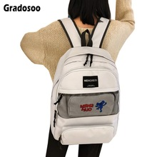 Gradosoo Fashion Backpack Women 2pcs Schoolbag Travel Bags For Large capacity Female New LBF600