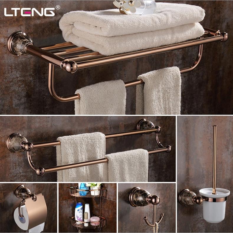 LTENG Европейский стиль набор для ванной комнаты розовое золото тонкая медная вешалка для полотенец многофункциональная полка Бесплатная до