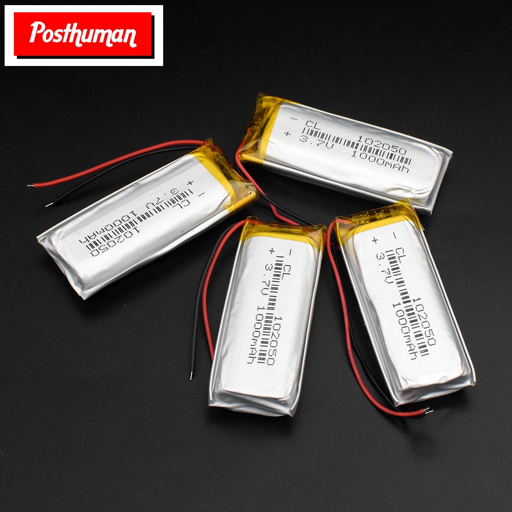 3.7V 1000mAh Battery 102050 Li-ion Lipo Cells Lithium Li-Po Polymer Rechargeable Battery For Bluetooth Speaker GPS PDA POS DVR