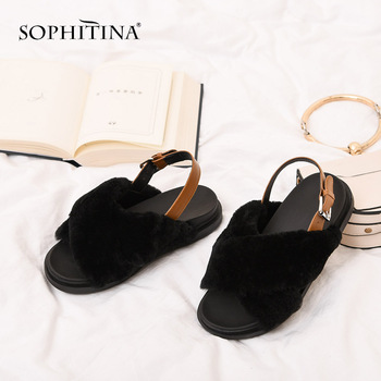 SOPHITINA Fashion Slip-On Ladies Pumps Casual Med Heel Buckle Slingbacks Shoes Spring Autumn Solid Round Head Women Pumps MO201