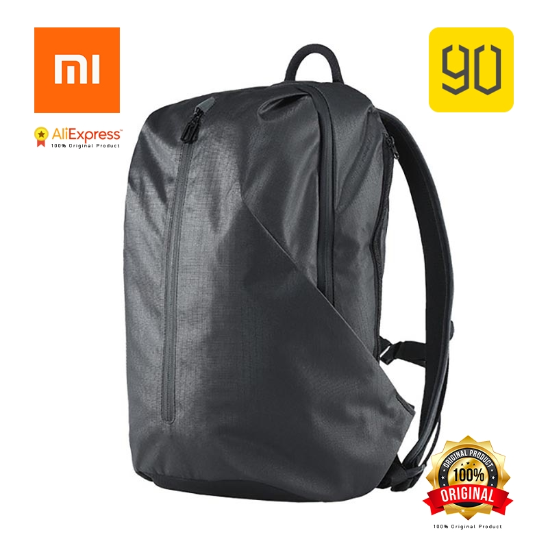Xiaomi Eco-chain 90FUN All Weather Functional Backpack Fashion Waterproof bag Travel College School Bussiness, Black/Orange red