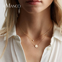 e Manco Gold Chain Round Pendant Necklace 925 Silver Simple Round Necklace For Women Long Link Chain Gold Necklace Fine Jewelry