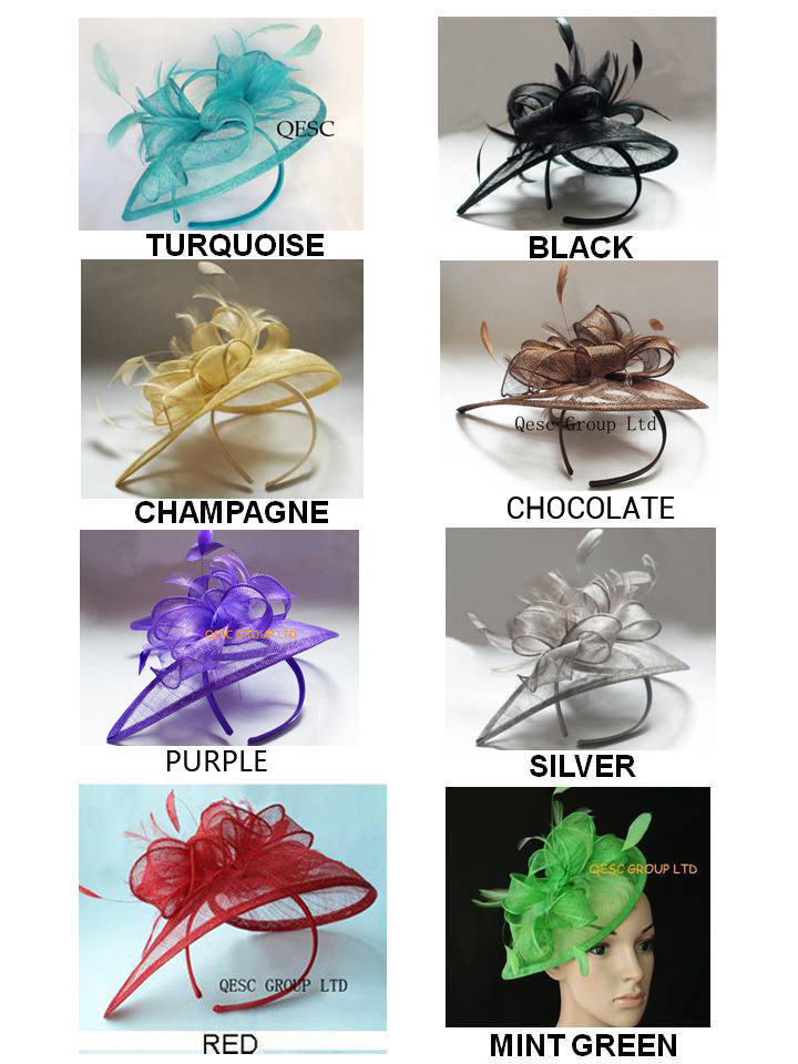 NEW Sinamay women s hat fascinator hair accessories for wedding turquoise blue black gold chocolate purple
