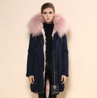 2017 High Quality mr&mrs fur parka coat,China real fur hood jacket Suppliers,Army green sexy pink real lamb liner coat