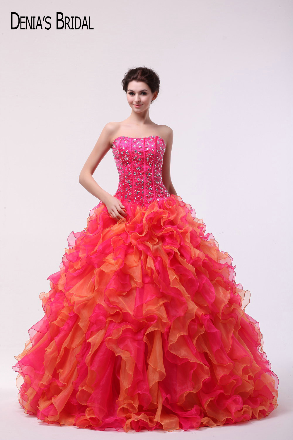 2017 Red and Orange   Evening     Dresses   with Sweetheart Neckline Appliques Tiered Ruffles Floor Length Sweep Train Party Prom Gowns
