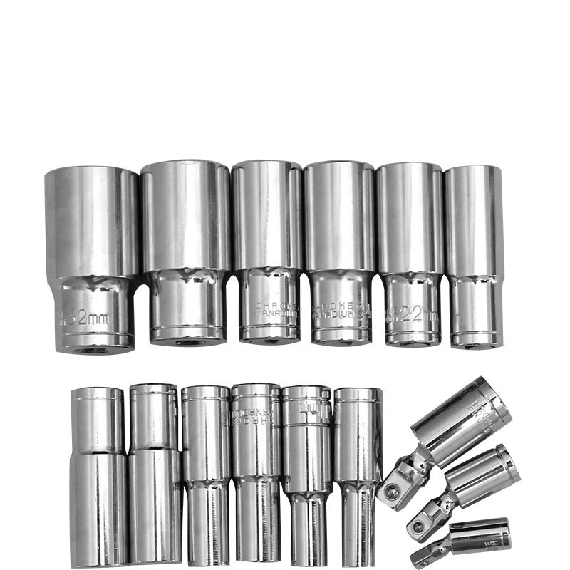 1/2 Longer Head 8-32mm Cr-V Socket Set Auto Repair Tools Hexagon Ratchet Wrench Accessories Nickel Chrome Multi-function