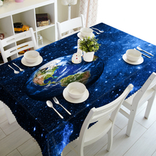 Customizable 3D Tablecloth Blue Sky Earth Stars in Space Pattern Waterproof Thicken Cotton Rectangular&Round Dining Table cloth recycled earth friendly outdoor patio round dining table khaki