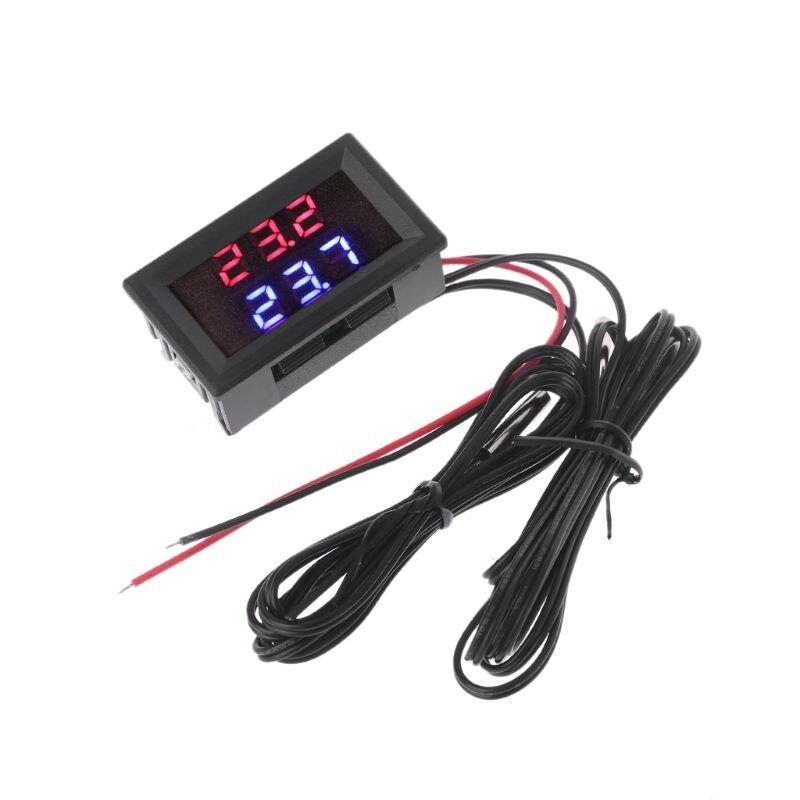 DC4-28V Dual Display Digital Thermometer Red+Blue w// NTC Waterproof Probe Sensor