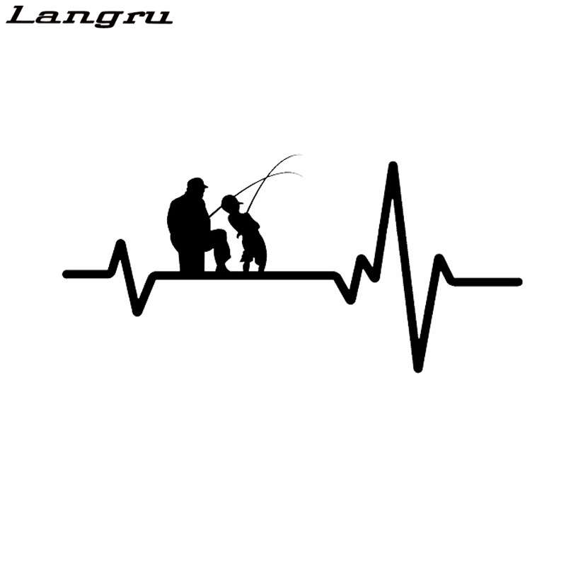 Langru Fishing Father Dad Son Fish Rod Reel Heartbeat Vinyl Decoration Car Sticker Decals Graphical Jdm(China)