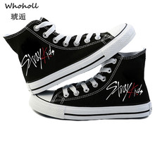 Whoholl Brand Stray-kids Canvas Shoes High Korean Hip Casual Breathable Male and Female Couple Flat Blast Size 35-42