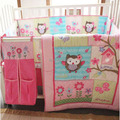 Ups Free 100% Cotton 4 Pieces Owls Baby Girl Bedding  Set Pink Embroidery Quilt Nursery Cot Crib Bedding