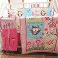 Ups del envío 100% algodón 4 unidades búhos del bebé nursery bedding set rosa bordado edredón cuna bedding