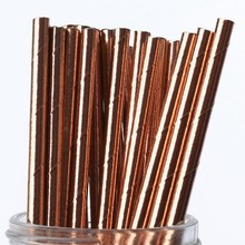 New Foil Rose Gold Paper Drinking Straw For Wedding Party Birthday Decoration Supplies Straws