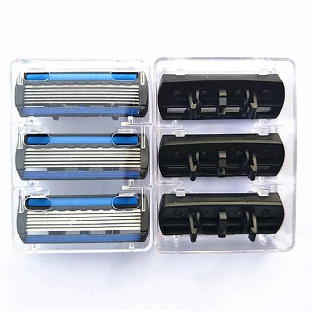 6-layer tıraş makinesi jilet 1 jilet tutucu + 7 bıçakları başlığı kaseti tıraş bıçağı seti mavi vücut yüz epilasyon bıçak kadın erkek