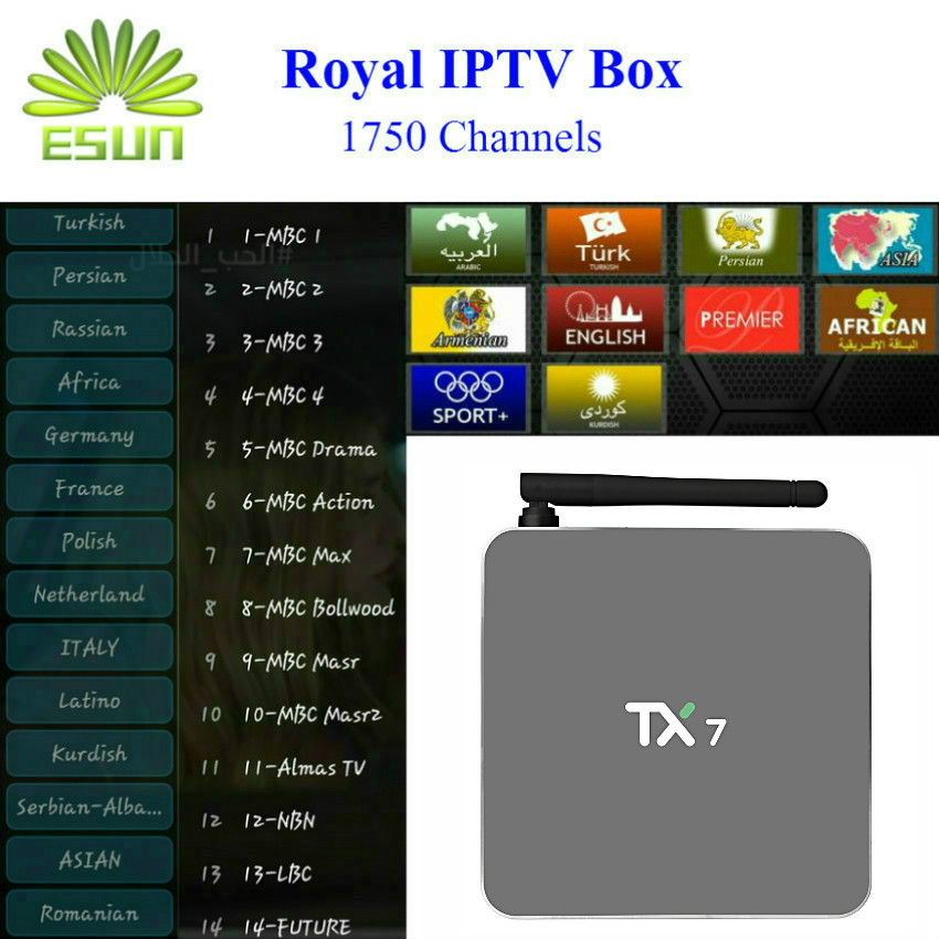 TX7 With 1 Year RoyalTV/ESUNTV/LuckyTV Configured Arabic Europe IPTV Android 6.0 Amlogic S905X 2/32G Android TV Box H.265 askent s 7 1 tx