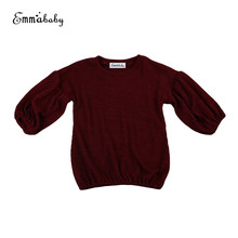 2017 Autumn New Arrival Baby Kids Girls Wine Red Solid sweater long sleeve T-shirt jerseys Girls clothes T-shirt 1-6Y(China)