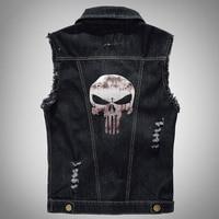 Digital Camou Vintage Pattern The Punisher Male Denim Vest Men Sleeve Jeans Jacket Plus Size 5XL 6XL
