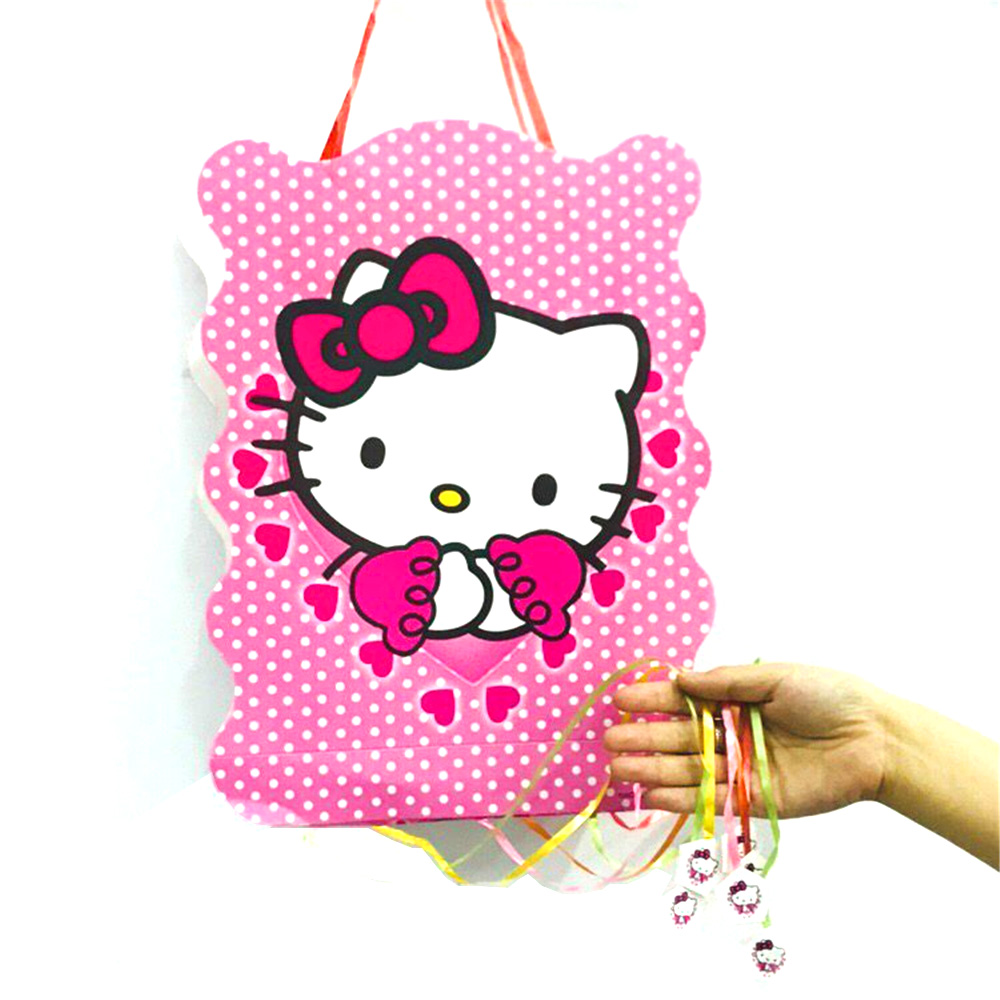 40*30cm Hello Kitty Party Supplies Paper Pinata Disposable Cartoon Theme Baby Shower Kids Birthday Party Decoration Favor Set