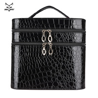 Women Alligator Cosmetic Box Designer High Quality Portable Cosmetic Bag Large Capacity PU Cosmetic Bag Women